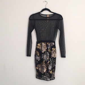 LAC BLEU Black and Gold Mesh Dress - Size S